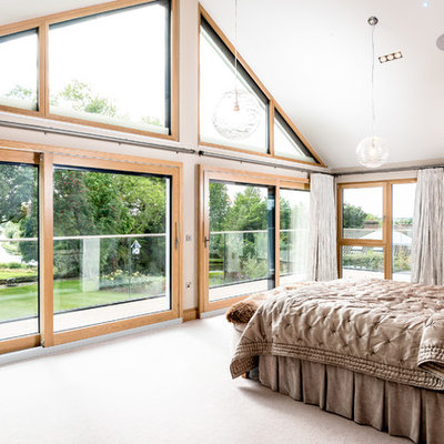 Bedroom - large transitional master carpeted and beige floor bedroom idea in Cambridgeshire with beige walls and no fireplace