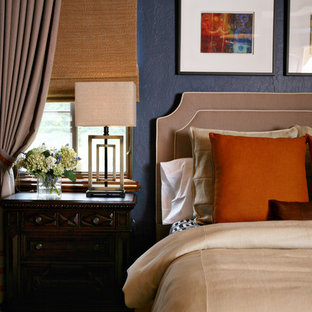 Example of a trendy bedroom design in Orlando with blue walls