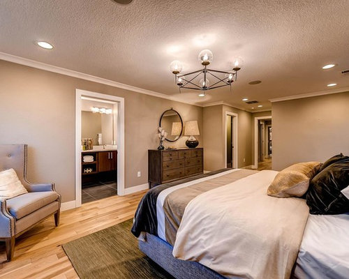 Large contemporary master light wood floor bedroom idea in Denver with  beige walls - Bedroom Speakers Home Design Ideas, Pictures, Remodel And Decor