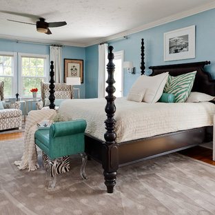 Inspiration for a contemporary bedroom remodel in Miami with blue walls & Tommy Bahama   Houzz