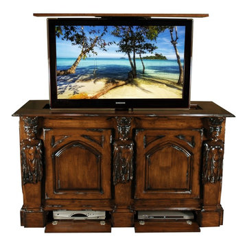 Princess Hand Carved TV Lift Furniture Cabinet, US Made TV Lift Cabinets
