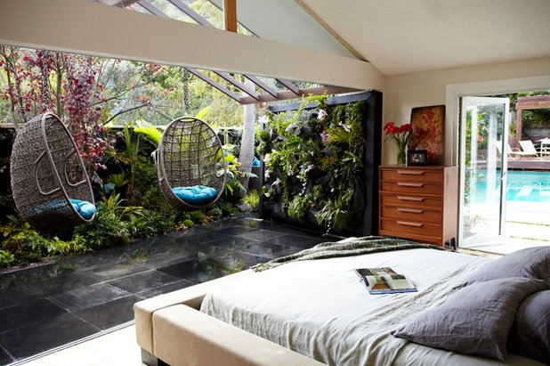 Tropical Bedroom by JAMIE DURIE DESIGN
