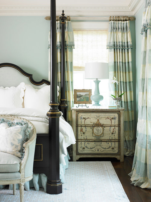 example of a large classic master bedroom design in atlanta with blue walls and dark hardwood - Bali Bedroom Design
