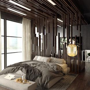 サンフランシスコのコンテンポラリースタイルのおしゃれな寝室 (グレーの壁、濃色無垢フローリング、茶色い床、ルーバー天井、黒い天井)