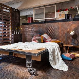 Diseño de dormitorio industrial con suelo multicolor