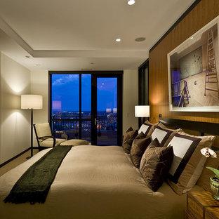 Bedroom - contemporary bedroom idea in Minneapolis with beige walls