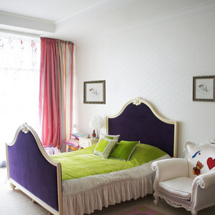 Inspiration for a transitional guest carpeted bedroom remodel in London with white walls