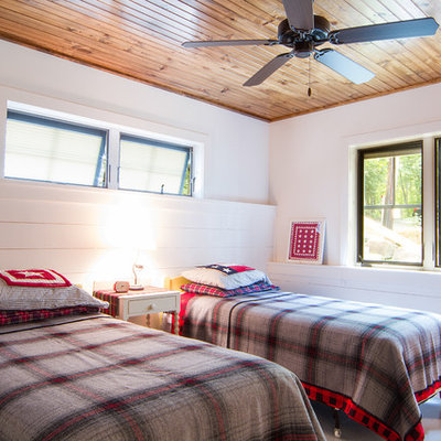 Inspiration for a rustic bedroom remodel in New York with white walls