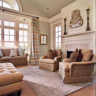 Inspiration for a timeless carpeted bedroom remodel in Portland with gray walls and a standard fireplace