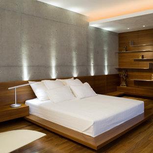 Modelo de dormitorio principal, moderno, de tamaño medio, con paredes grises, suelo de madera en tonos medios, chimeneas suspendidas y suelo marrón