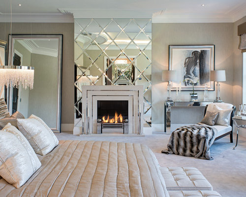 Elegant Master Carpeted Bedroom Photo In Surrey With Gray Walls And A  Standard Fireplace