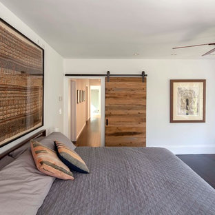 Inspiration for a contemporary bedroom in Boston with white walls.