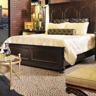 Example of an eclectic master carpeted bedroom design in New York