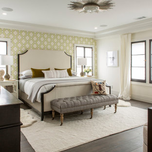 Bedroom - large transitional guest medium tone wood floor and brown floor bedroom idea in Los Angeles with multicolored walls and no fireplace