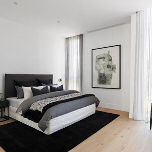 Design ideas for a mid-sized contemporary master bedroom in Melbourne with white walls, light hardwood floors and beige floor.