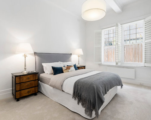 transitional bedroom design. Brilliant Design Photo Of A Large Transitional Guest Bedroom In Melbourne With White Walls  Carpet No For Transitional Bedroom Design S