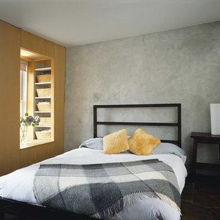 Modelo de dormitorio principal, contemporáneo, de tamaño medio, con paredes grises y suelo de madera oscura