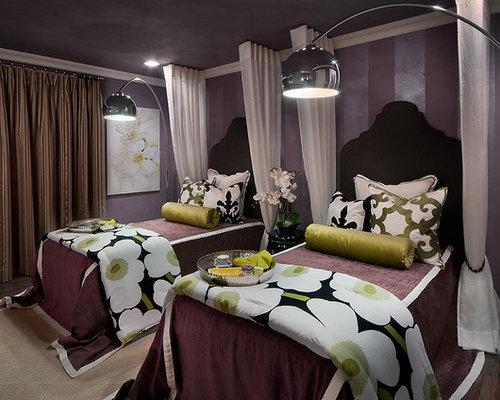 moderne g stezimmer mit lila wandfarbe ideen design. Black Bedroom Furniture Sets. Home Design Ideas