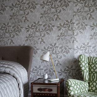 Foto de dormitorio actual con paredes multicolor