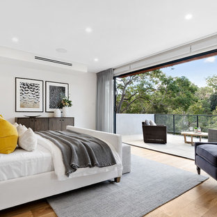 Contemporary bedroom in Sydney with white walls, medium hardwood floors and brown floor.