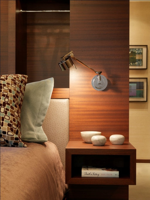Example of a mountain style bedroom design in Burlington with beige walls - Wall Mounted Bedside Lamps Houzz