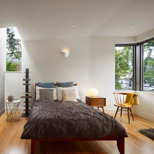 Photo of a modern bedroom in New York with white walls, medium hardwood floors and yellow floor.