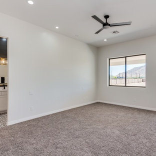Bedroom - large traditional master carpeted and brown floor bedroom idea in Phoenix with gray walls and no fireplace