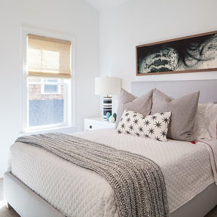 Design ideas for a nautical master bedroom in New York with light hardwood flooring, a stone fireplace surround and white walls.