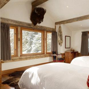 Modelo de habitación de invitados rústica con paredes blancas