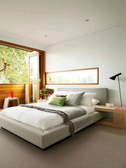 Modern bedroom design ideas remodels photos houzz for Bed design photos