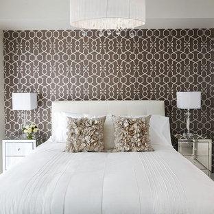 Idee per una camera da letto minimal con pareti multicolore