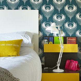 Inspiration for an eclectic bedroom remodel in Dublin with multicolored walls