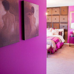 Mid-sized eclectic guest carpeted and pink floor bedroom photo in Toronto with pink walls and no fireplace
