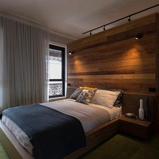メルボルンの広いモダンスタイルのおしゃれな主寝室 (グレーの壁、カーペット敷き、緑の床、標準型暖炉、漆喰の暖炉まわり)
