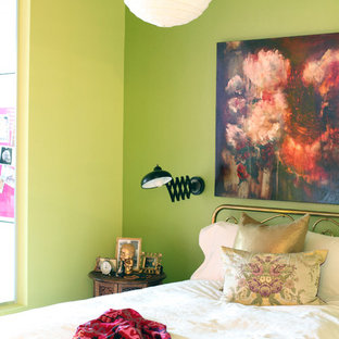 Inspiration For An Eclectic Bedroom Remodel In Vancouver With Green Walls