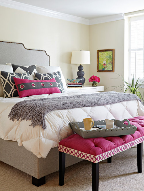 example of a transitional bedroom design in richmond with beige walls and carpet - Girls Bedroom Color