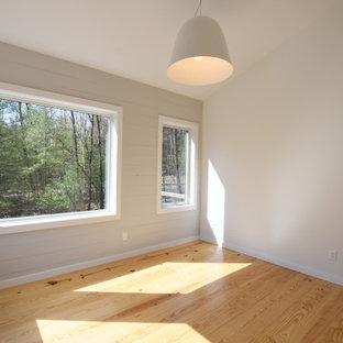 Idéer för ett mellanstort retro huvudsovrum, med grå väggar, ljust trägolv och brunt golv
