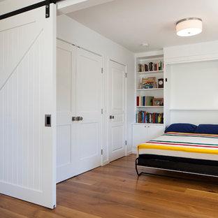 Ejemplo de dormitorio contemporáneo con paredes blancas y suelo de madera en tonos medios