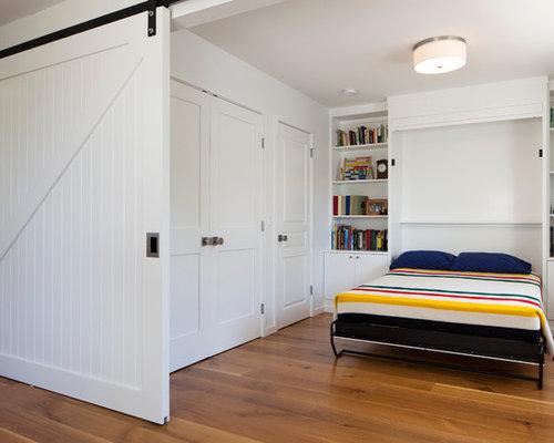 Exceptional Contemporary Medium Tone Wood Floor Bedroom Idea In San Francisco With  White Walls