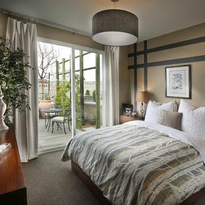 Bedroom - contemporary carpeted bedroom idea in Orange County with multicolored walls