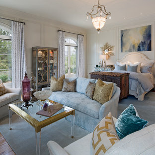 Rancho Santa Fe Bedroom Design in Cooler Colors with Blues and Golds