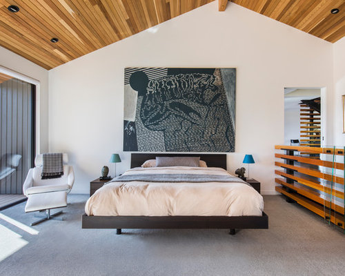 inspiration for a large contemporary master carpeted and gray floor bedroom remodel in portland with white - Contemporary Master Bedroom Ideas