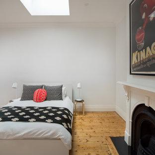Ejemplo de habitación de invitados urbana, de tamaño medio, con paredes blancas, suelo de madera clara, chimenea tradicional y marco de chimenea de metal