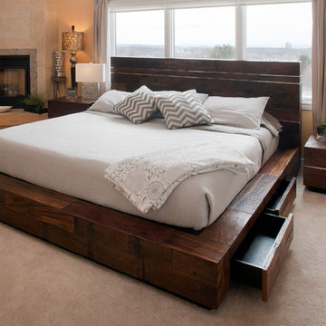 Reclaimed Wood Platform Bed with Drawers