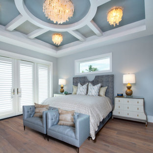 Foto de dormitorio principal y casetón, marinero, grande, con paredes grises, suelo de madera en tonos medios y suelo marrón