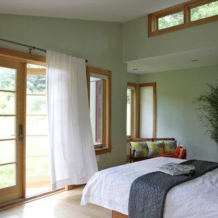Cette Photo Montre Une Chambre Tendance Avec Un Mur Vert Et Un Sol En Bois  Clair
