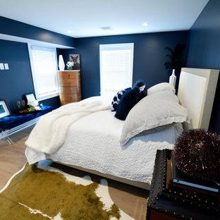 ボストンの広いモダンスタイルのおしゃれな客用寝室 (青い壁、淡色無垢フローリング、ベージュの床、格子天井)
