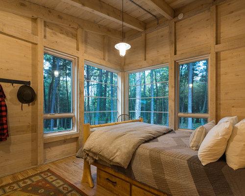 Mountain Style Medium Tone Wood Floor And Brown Floor Bedroom Photo In  Burlington