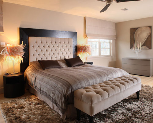 Trendy bedroom photo in DC Metro with beige walls - Rhinestone Bordered Headboard Houzz