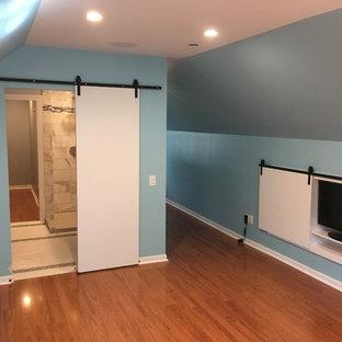 Свежая идея для дизайна: хозяйская спальня среднего размера в современном стиле с синими стенами, полом из ламината и оранжевым полом - отличное фото интерьера